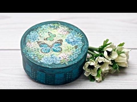 Decoupage  vintage  pudełko z motylami - DIY tutorial