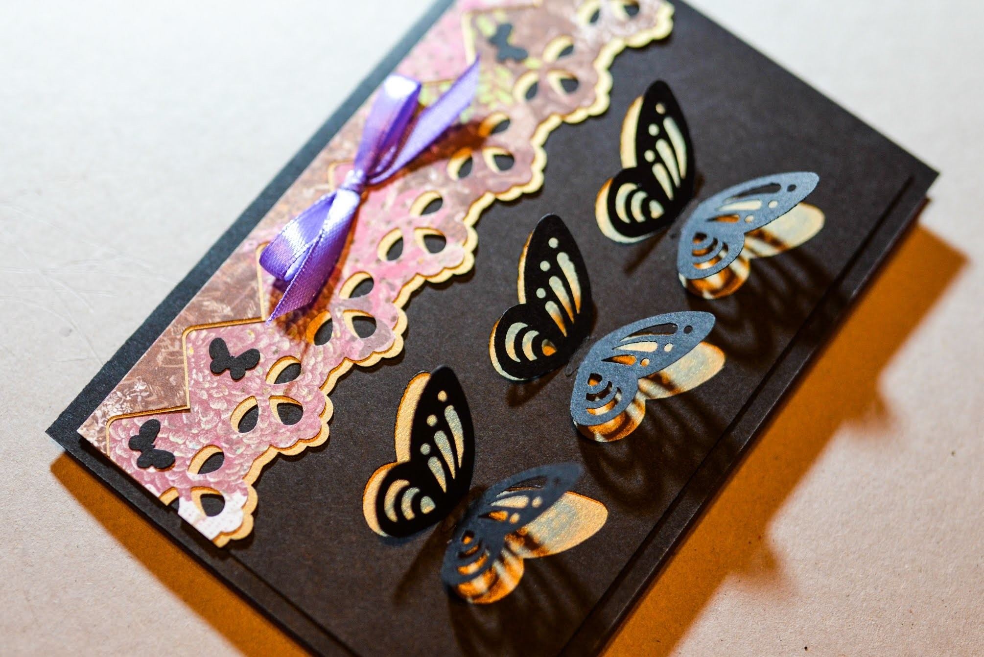 How to Make - Decorative Greeting Card With Butterflies - Step by Step | Kartka Z Czarnymi Motylami