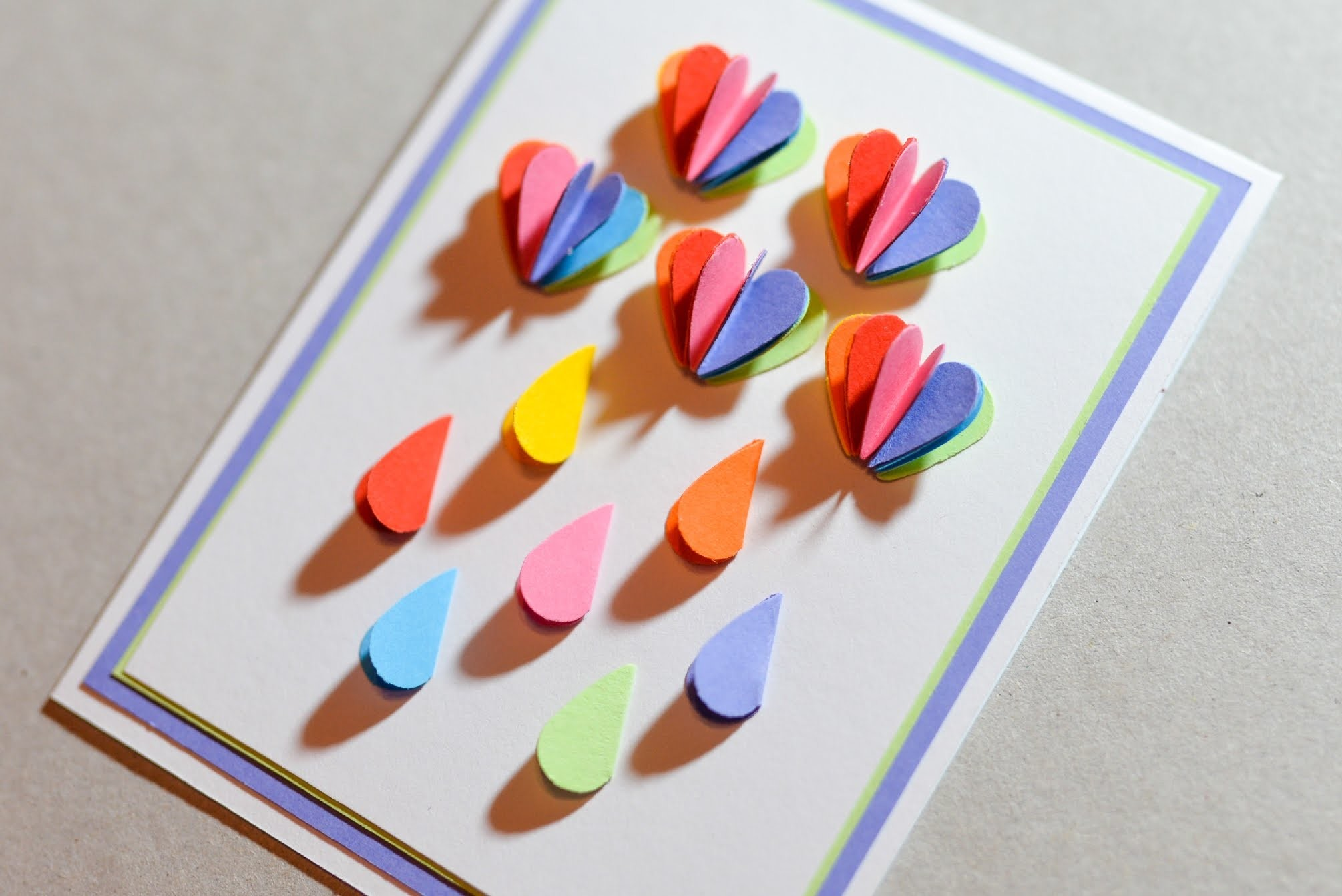 How to Make - Greeting Card Rainbow Rain - Step by Step | Kartka Tęczowy Deszcz