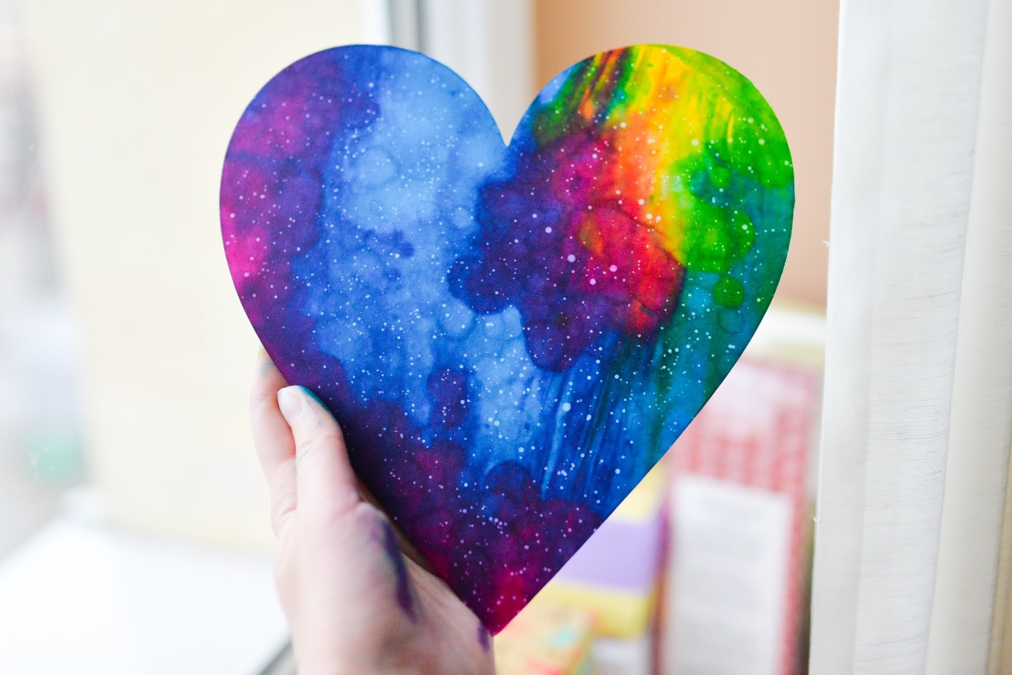 How to Make - Watercolor Galaxy Heart Valentine's Day - Step by Step | Serce Kosmos Galaktyka