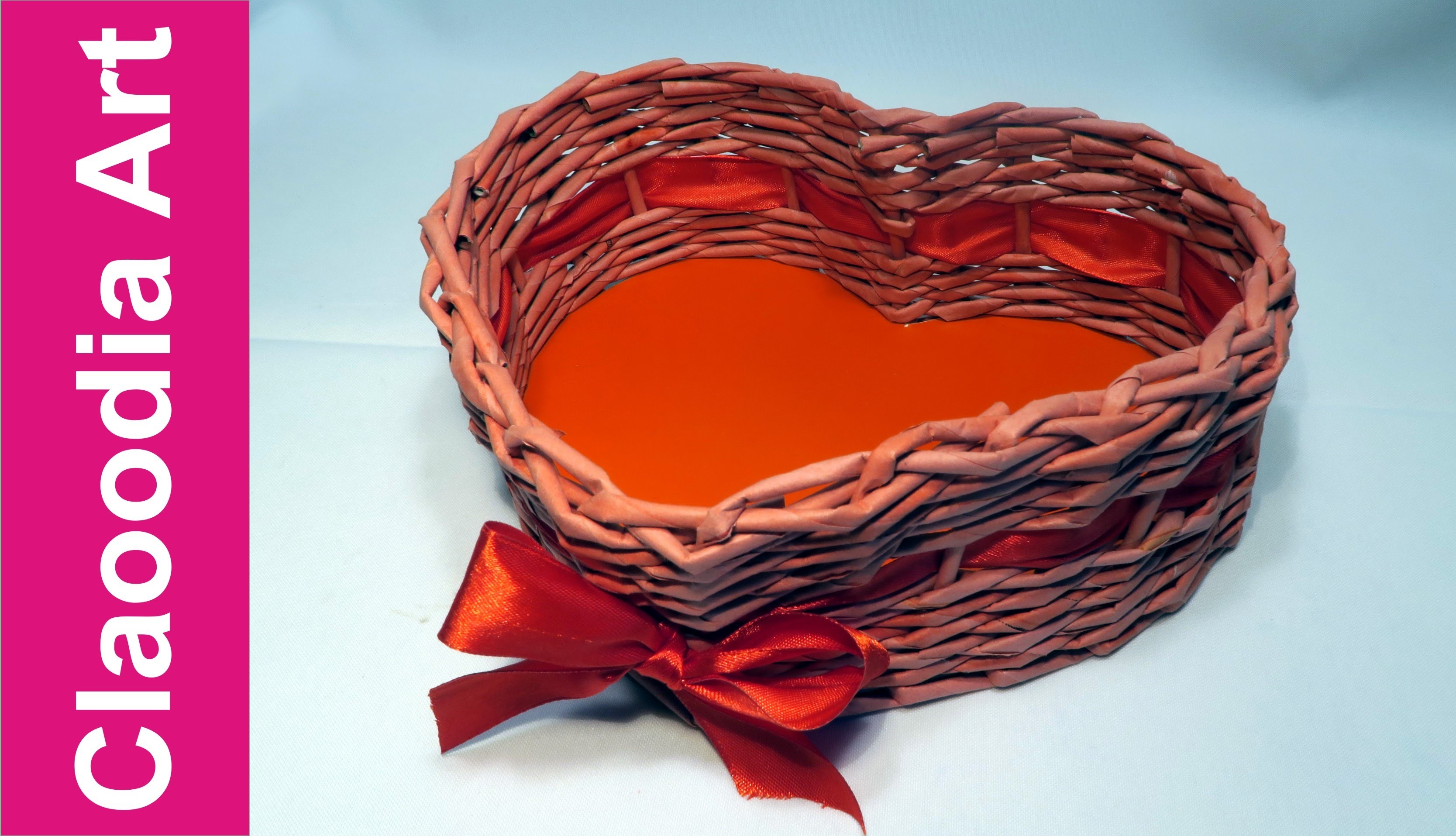 Koszyk SERCE, papierowa wiklina (basket heart, wicker paper)