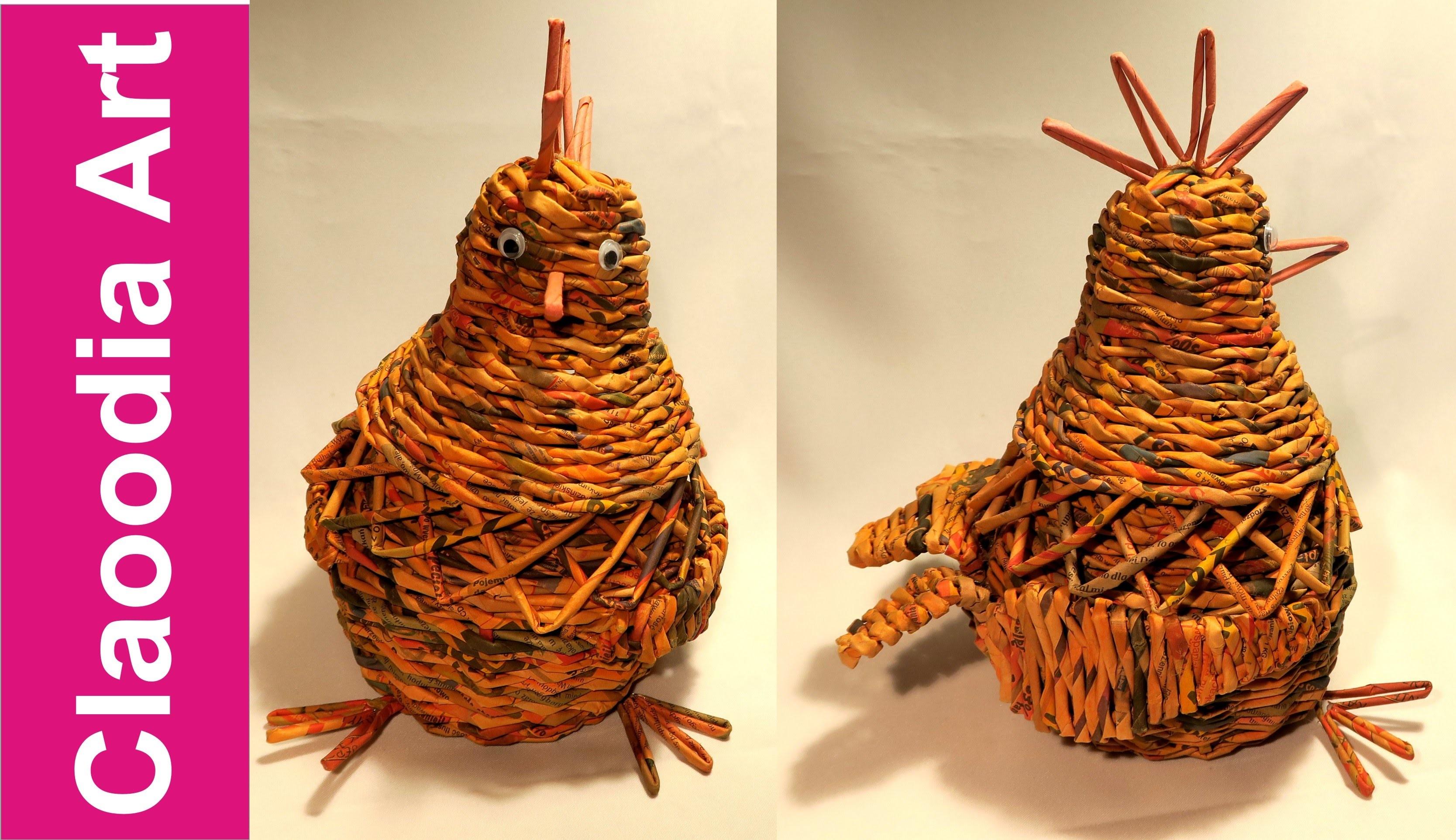 Kura z papierowej wikliny (hen, wicker paper)