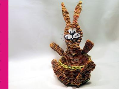 Koszyk zajączek, papierowa wiklina (DIY, Bunny basket, wicker paper)