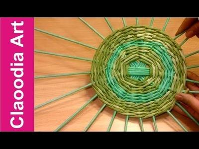 Jak wypleść okrągłe dno do koszyka z papierowej wikliny? #1 (round bottom, wicker paper)