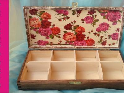 Decoupage, pudełko na herbatę krok po kroku (box for tea)