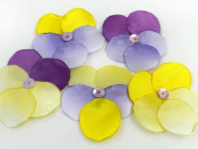 How to make fabric pansy flower jak zrobić bratek z materiału kwiat анютины глазки DIY tutorial