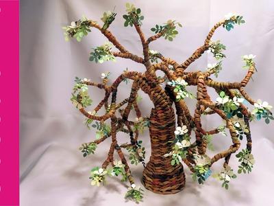 Drzewo z papierowej wikliny (Tree from newspaper, wicker paper)