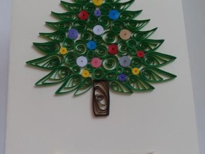 Quilling - kartka Bożonarodzeniowa z choinką