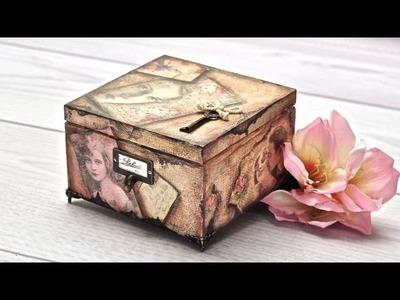 Pudełko decoupage ze zdjęciami retro - tutorial DIY