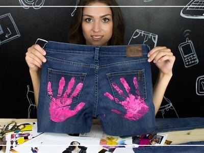 Jeansowe szorty pomalowane farbą - Pomysł na DIY na lato