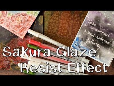 Resist effect z pisakami Glaze (Sakura) - technika