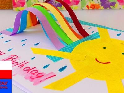 Kartka urodzinowa z tęczą i słońcem | prosty pomysł | Rainbow Birthday Card DIY Idea