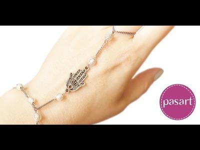 Jak zrobić bransoletkę z pierścionkiem? Chaing Ring bracelet- kurs DIY pasart.pl
