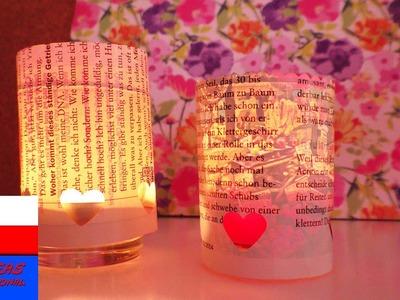 DIY Inspiration | wyzwanie tygodnia #71 papier gazetowy | mini lampiony z papierem gazetowym