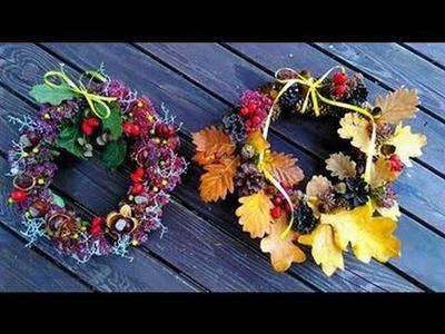 DIY jesienne dekoracje, wianki z liści kasztanów i żołędzi
