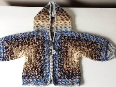 Sweterek na szydełku dla niemowlaka dziecka z kapturem 1.2