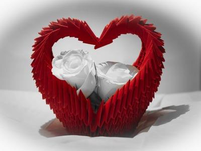 Koszyk serce origami modułowe 3D tutorial jak zrobić