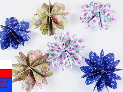 DIY kwiatki z papieru | origami | dekoracja z wzorzystego papieru