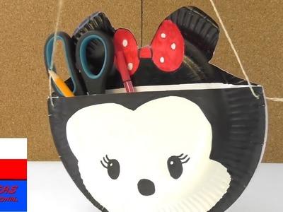 Torebka w stylu Tsum Tsum Miki Mouse | z papierowych talerzyków | torebka na przybory do pisania