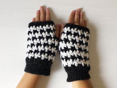 Mitenki na szydełku rękawiczki bez palców.