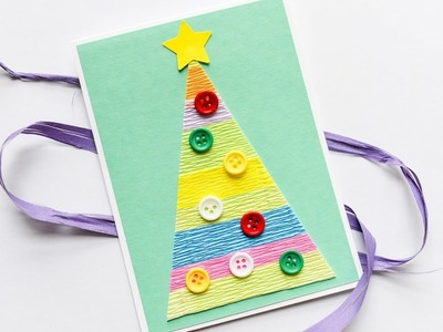 How to Make - Easy Christmas Tree Card - Step by Step DIY | Kartka Świąteczna Choinka