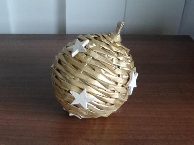 Jak zrobić bombkę z papierowej wikliny. christmas bauble. wicker paper