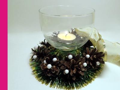 Świecznik z szyszek (Candlestick with cones, DIY)