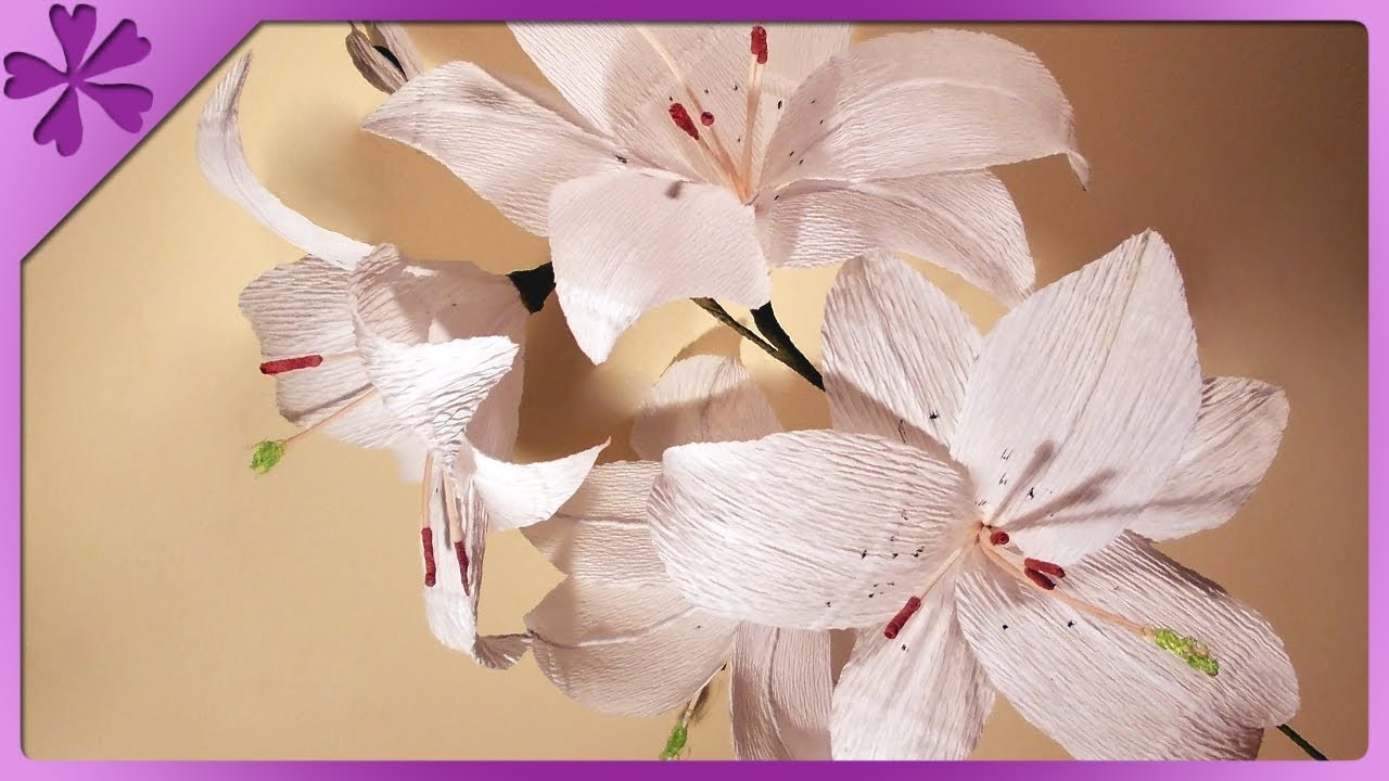 DIY Lilie z bibuły. Tissue paper lilies (+ENG Annotations) - Na szybko #16