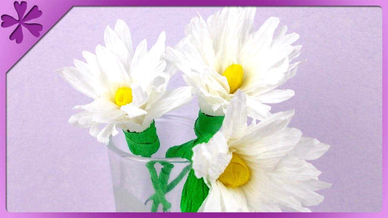 DIY Stokrotki z bibuły. Tissue paper daisies (+ENG Annotations) - Na szybko #84