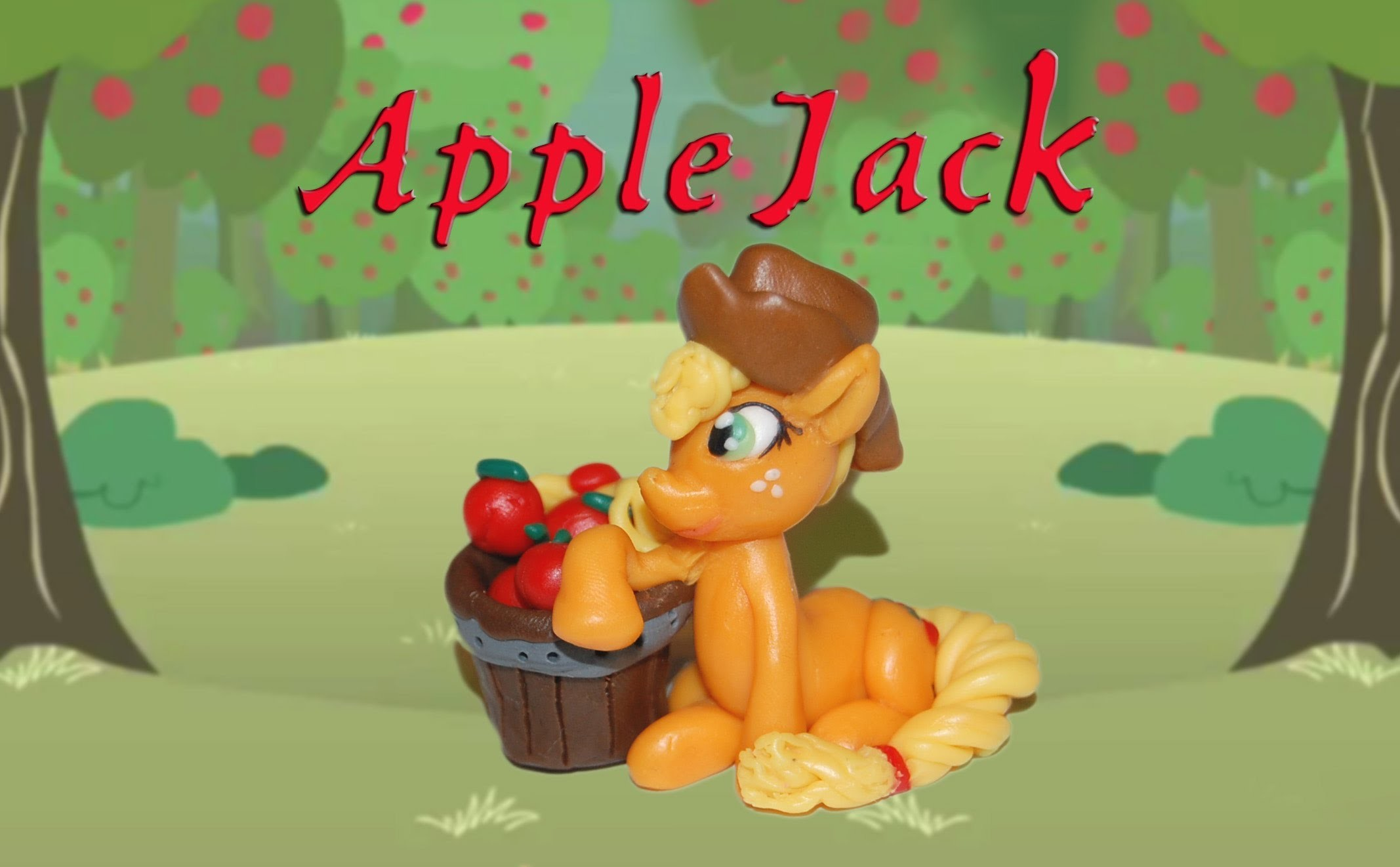 Lepiołki:Applejack TUTORIAL, polymer clay, made hand,