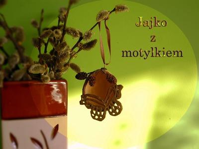 Lepiołki: Brązowa pisanka z motylkiem TUTORIAL  ,POLYMER CLAY, MADE HAND,