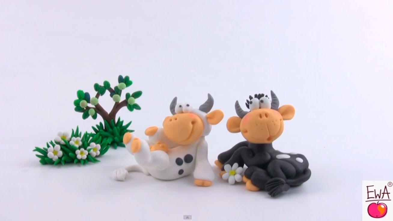 LET'S CLAY! COW - polymer clay tutorial KRÓWKA z modeliny