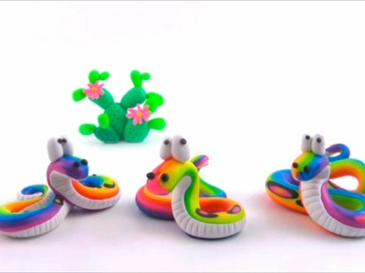 LET'S CLAY! easy RAINBOW SNAKE - TĘCZOWY WĄŻ - polymer clay tutorial