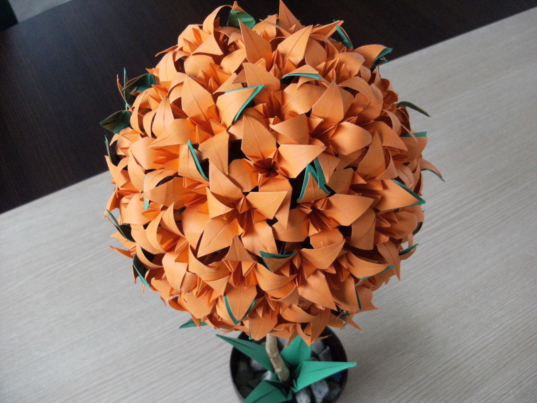 Origami 3d - LILIOWIEC - drzewko kula - lilia - irys - instrukcja jak wykonać