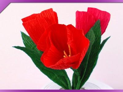 DIY Tulipan z bibuły. Tissue paper tulip (+ENG Annotations) - Na szybko #86