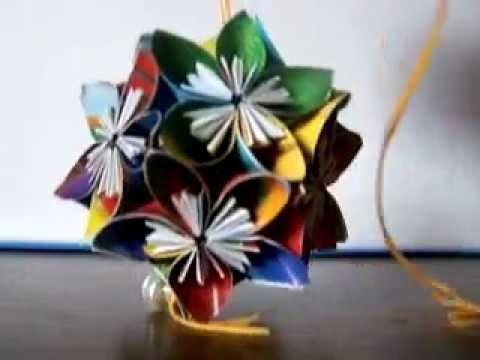 Jak wygląda kolorowa kula bombka kusudama z papieru origami 3d