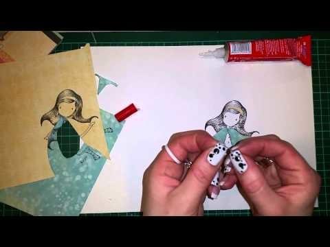 Jak zrobić kolorowy obrazek z użyciem stempla i papieru scrapbooking, tutorial