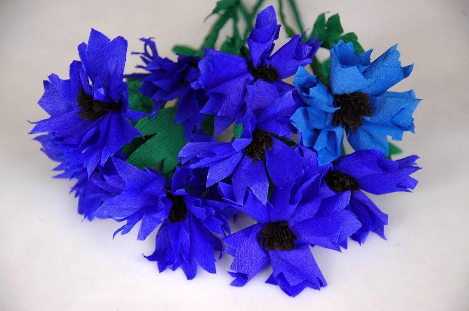 Kwiaty z bibuły - chabry. Tissue flowers DIY