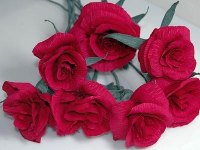 Kwiaty z bibuły - róża . Crepe paper flowers DIY