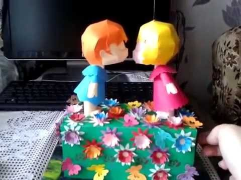 Papercraft kissing dolls