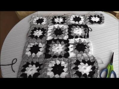 Patchworkowa poduszka na szydelku - kolorowy kwadrat ,  cz. 1 z 3