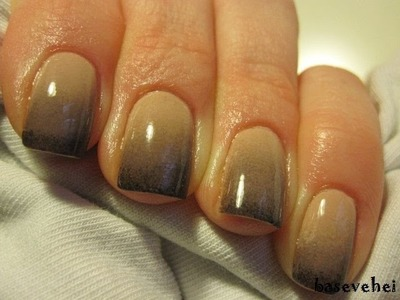 Black & nude ombre gradient nail tutorial - Cieniowane zdobienie paznokci - Basevehei