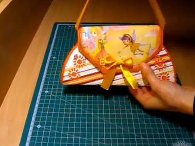 Jak krok po kroku zrobić kartkę urodzinową dla dziewczynki w kształcie torebki. Baby Girl Scrapbook.