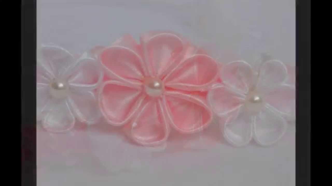 Kanzashi: Biało – różowa opaska we włosy z kwiatkami