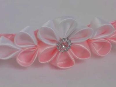 Kanzashi: Biało-różowa opaska we włosy z kwiatkiem