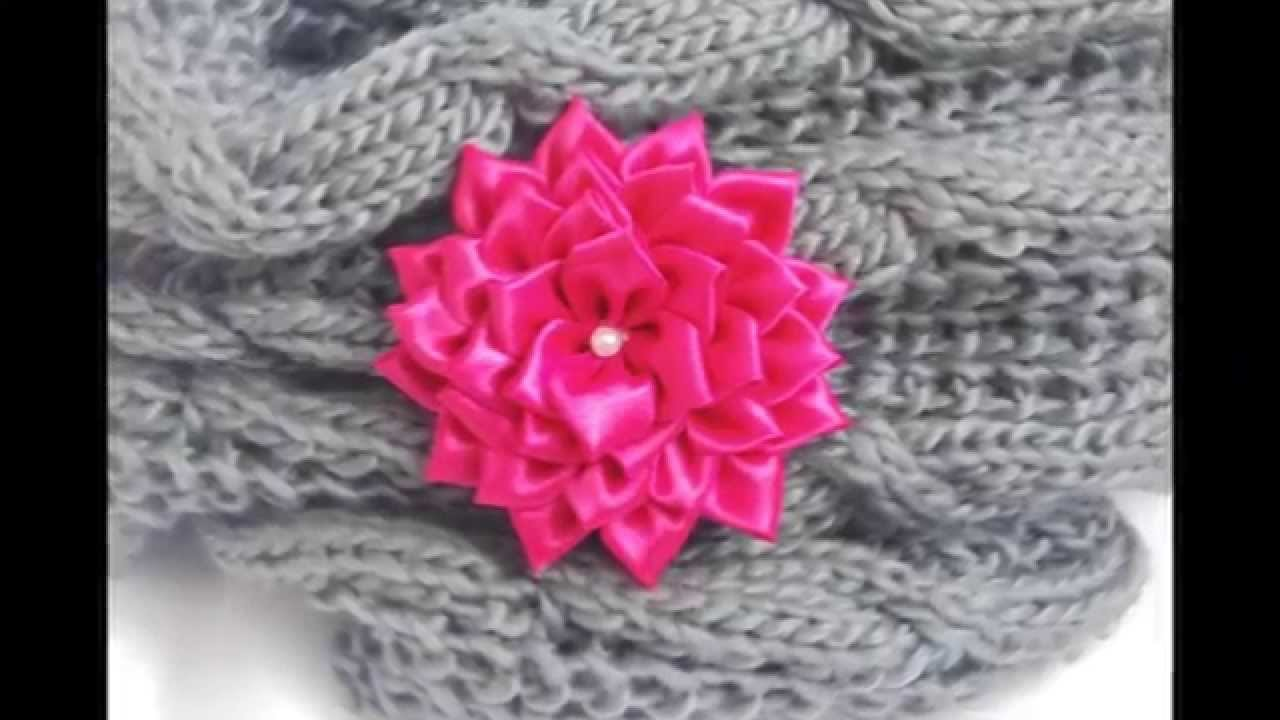 Kanzashi: Przypinka kwiatek do torebki, komina, kurtki, sukienki itp.
