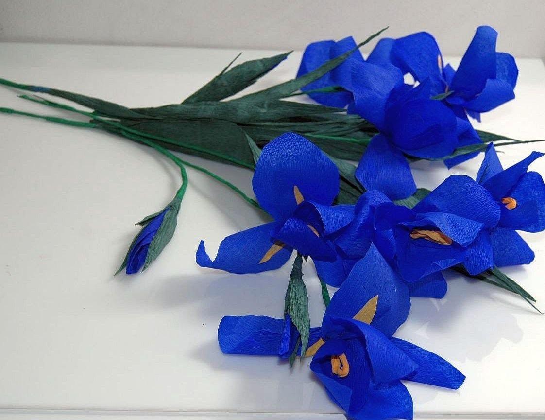 Kwiaty z bibuły- Irys. Crepe paper flowers - Iris. Ирис DIY