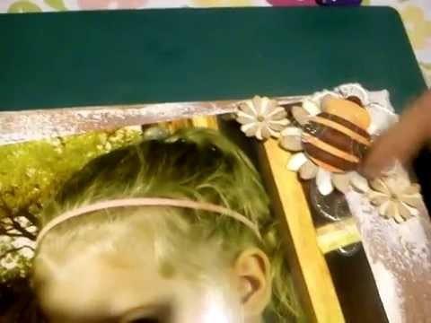 Ręcznie ozdobione płótno ze zdjęciem, scrapbooking, obraz na ścianę.