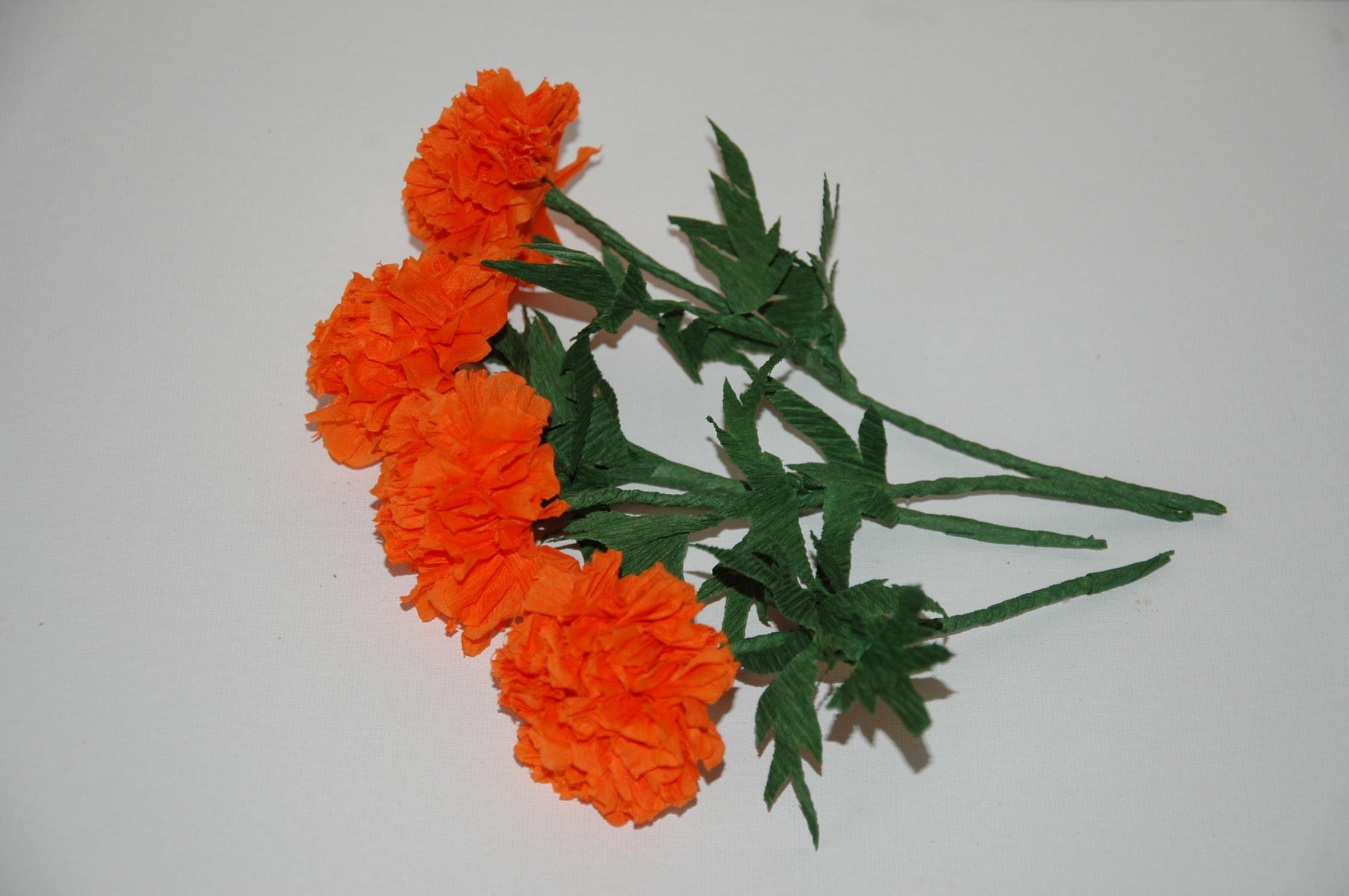 Making flowers with paper - Marigolds. Kwiaty z bibuły 2 DIY