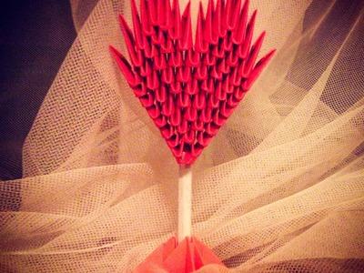 Origami - serduszko .jak zrobić serce z papieru origami. how to make a paper heart DIY  tutorial 3D